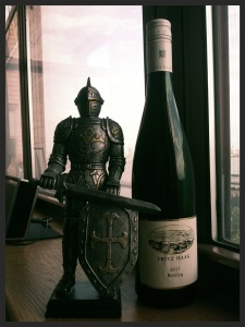 Knight I bought in Salzburg guarding the Fritz Haag Riesling