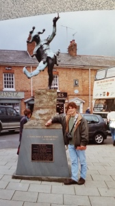 With the fool statue in Stratford-upon-Avon.  (circa 1998, age 20)