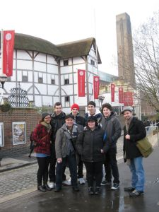 With my students at the Globe, February 2010 (age 32)