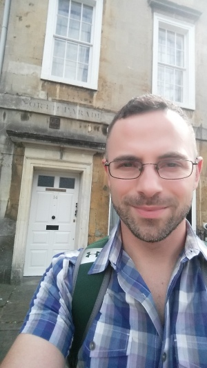 Standing in front of my old flat at Nunes House (14 North Parade) in Bath.