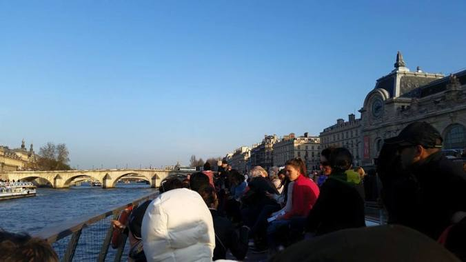 This is a view from a bateau  mouche on the Seine.  The building in the back to the right is the Musée d'Orsay, an art museum dedicated to Impressionist art (and one of my most favorite museums in the world).