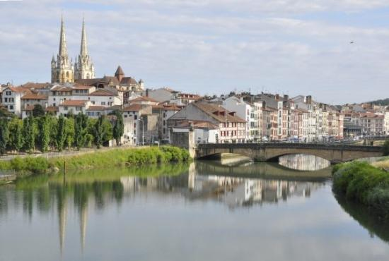 Bayonne, France.  Note the cathedral in the background.