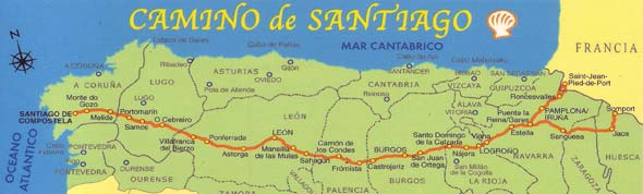Most of the places mentioned in the Spanish section of the book are part of the Camino de Santiago de Compostela.  This is an ancient pilgrimage route from the Pyrenees at the border of France and Spain to the Atlantic Coast.  Originally those who walked the Camino did so for religious or spiritual purposes, and many still do, but many others hike or bike the roughly 500 miles because it's a stunningly gorgeous walk!  Because people have been doing this for centuries, there are many hostels and places to stay along the way for pilgrims.  When Hemingway mentions that Harris walked over from St. Jean Pied de Port, he's implying that Harris was probably walking the Camino.